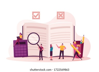 Regulation Concept. Tiny Characters Write Rules in Checklist with Law Information. Society Control Guidelines and Strategy for Company Order and Restrictions. Cartoon People Vector Illustration
