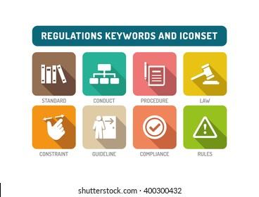 Regulations Flat Icon Set