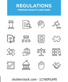 Regulations, Governance and Procedure vector thin line icons set. Line graphic design for web design, mobile app, infographics. Pixel perfect vector outline icons set.