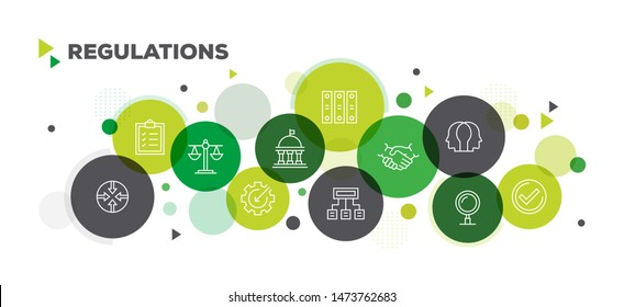 REGULATIONS ICONS ON MULTI COLORED BACKGROUND BANNER DESIGN