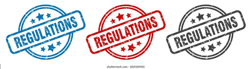regulations round grunge vintage sign. regulations stamp
