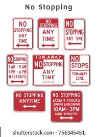 Regulatory traffic sign. No Stopping. Vector illustration.