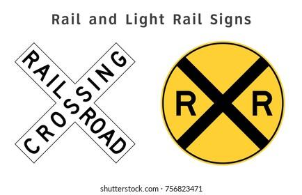 Regulatory traffic sign. Rail and Light Rail. Vector illustration.
