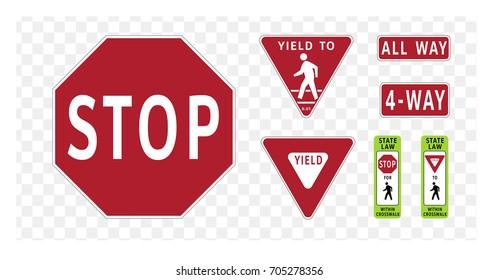 Regulatory traffic sign. Stop and Yield. Flat design. Vector illustration.