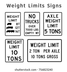 Regulatory traffic sign. Weight Limits. Vector illustration.