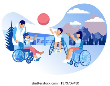 Rehabilitation and Adaptation for Children Cartoon. Rehabilitation Physical, Well as Psychological and Pedagogical Directions. Children in Wheelchairs Play Ball in Street. Vector Illustration.