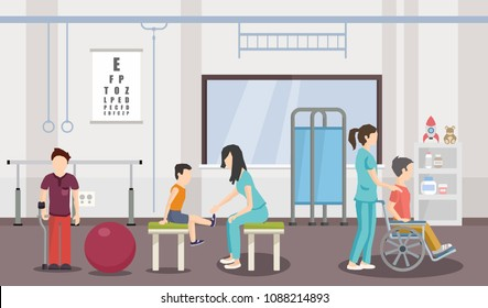 Rehabilitation center of kids. Vector image. Help children with disabilities.