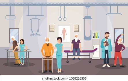 Rehabilitation center, physiotherapy for elderly. Vector image