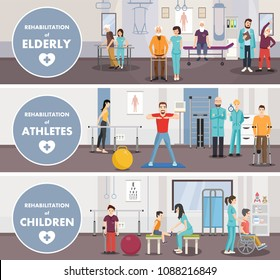 Rehabilitation centerof eldery athletes children. Vector image. Isometric banner.
