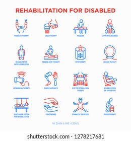 Rehabilitation for disabled thin line icons set: magnetic therapy, laser, massage, lymphatic drainage, exoskeleton, cryotherapy, biomechatronics, suspension system, ergotherapy. Vector illustration.
