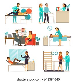 Rehabilitation and therapy set with people doing different psychological and physical exercises after injuries isolated vector illustration