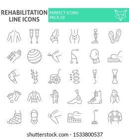 Rehabilitation thin line icon set, therapy symbols collection, vector sketches, logo illustrations, physiotherapy signs linear pictograms package isolated on white background, eps 10.