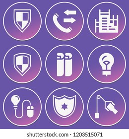 Rehabilitation, under construction, blueprint, shield, idea, lightbulb icon set suitable for info graphics, websites and print media and interfaces