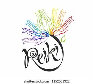 Reiki energy. Logotype. Healing energy. Flower of the rainbow from the palms of man. Alternative medicine. Spiritual practice. Vector.