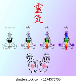 Reiki. Expansion of energy. Initiation. Energy flow. Reiki the first stage. Second stage. Third stage. Increase of energy flow. Vector.