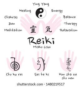 Reiki symbols vector icon set (cho ku rei, sei he ki, hon sha ze sho nen)