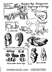 Reindeer Age Engravings and Carvings Shown are engravings of stage and salmon, it is head of a women carved in ivory, vintage line drawing or engraving illustration.