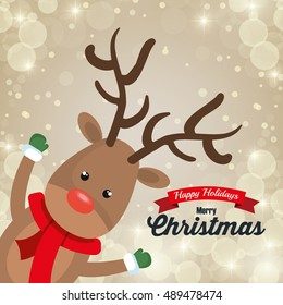 reindeer cartoon card christmas snowfall design