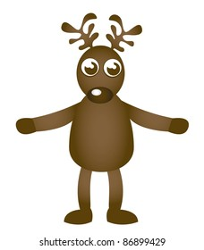 reindeer cartoon isolated over white background. vector