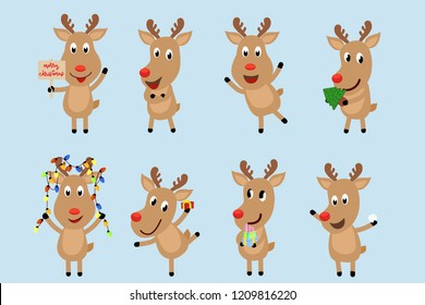Reindeer charactor set. Charactor design of  hold merry christmas tag, charming act, happy smile, hold the present gift and Christmas light for Christmas decoration element. vector illustration