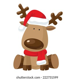 Reindeer child sitting in Christmas red hat with red scarf