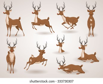 Reindeer Christmas icon set. Moving deer collection. Holiday vector illustration