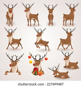 Reindeer Christmas icons set. Moving deer collection. Holiday vector illustration