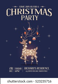 reindeer christmas party invitation card template vector/illustration