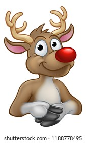 A reindeer Christmas red nosed cartoon character above a sign