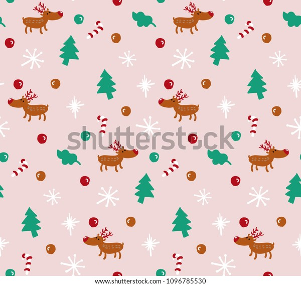 Reindeer Christmas seamless pattern. Pink background. Candy cane, pine tree, snow flake doodle