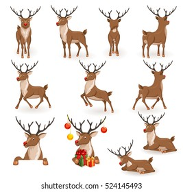 Reindeer Christmas vector illustration set. Moving deer collection. Animals back, in profile and full face. Rudolf lying, sleeping, galloping, jumping and flying, looks, gives gift. Holiday icons