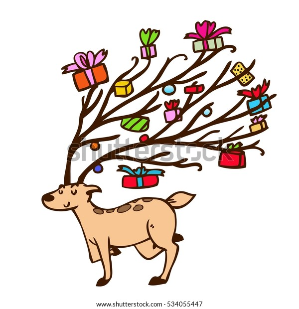 Reindeer Coloring Pages Stock Vector (Royalty Free) 534055447