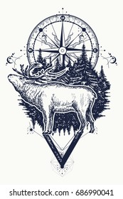 Reindeer and compass tattoo. Adventure, travel, outdoors, symbol