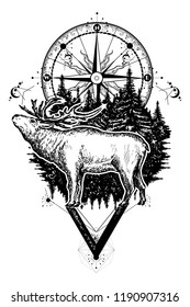 Reindeer and compass tattoo. Deer and compass ethnic tribal tattoo. Adventure, travel, outdoors, symbols