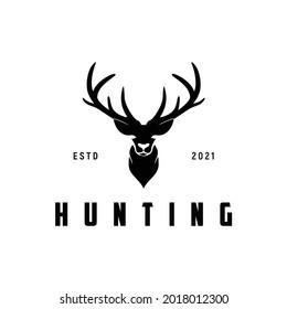 reindeer deer stag buck doe antler silhouette hunting season wildlife sport animal logo design