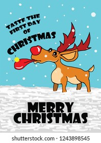 A reindeer eating a golden snowflake on Christmas day for the concept: Taste the first day of Christmas. Hand drawn vector illustration.