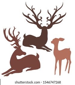 Reindeer family mother father daughter silhouette illustration vector set Christmas icon antlers