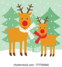 reindeer family on christmas
