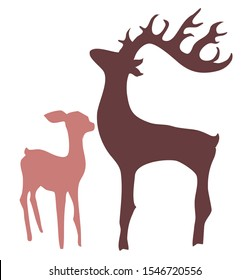 Reindeer family vector silhouette father and son Christmas illustration symbol animal