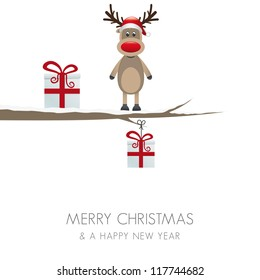 reindeer figure on branch isolated white background