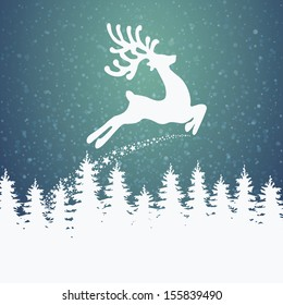 reindeer fly winter background stars and snow