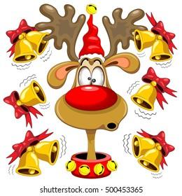 Reindeer Fun Christmas Cartoon with Bells Alarms