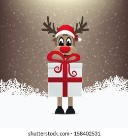 reindeer gift winter snowy background