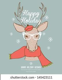 Reindeer Happy Holidays Card