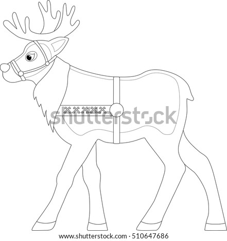 Reindeer Harness Coloring Page Stock Vector Royalty Free 510647686