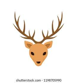 Reindeer head with antlers isolated on white background, illustration.