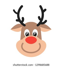 Reindeer head christmas flat style design vector illustration icon sign isolated on white background. Symbol of merry christmas and happy new year.