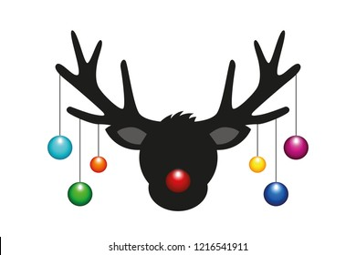 reindeer head with colorful christmas tree balls vector illustration EPS10