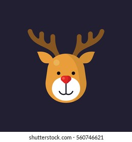 Reindeer head icon for winter/ christmas in flat style