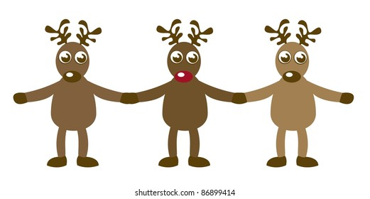 reindeer holding hands isolated over white background. vector